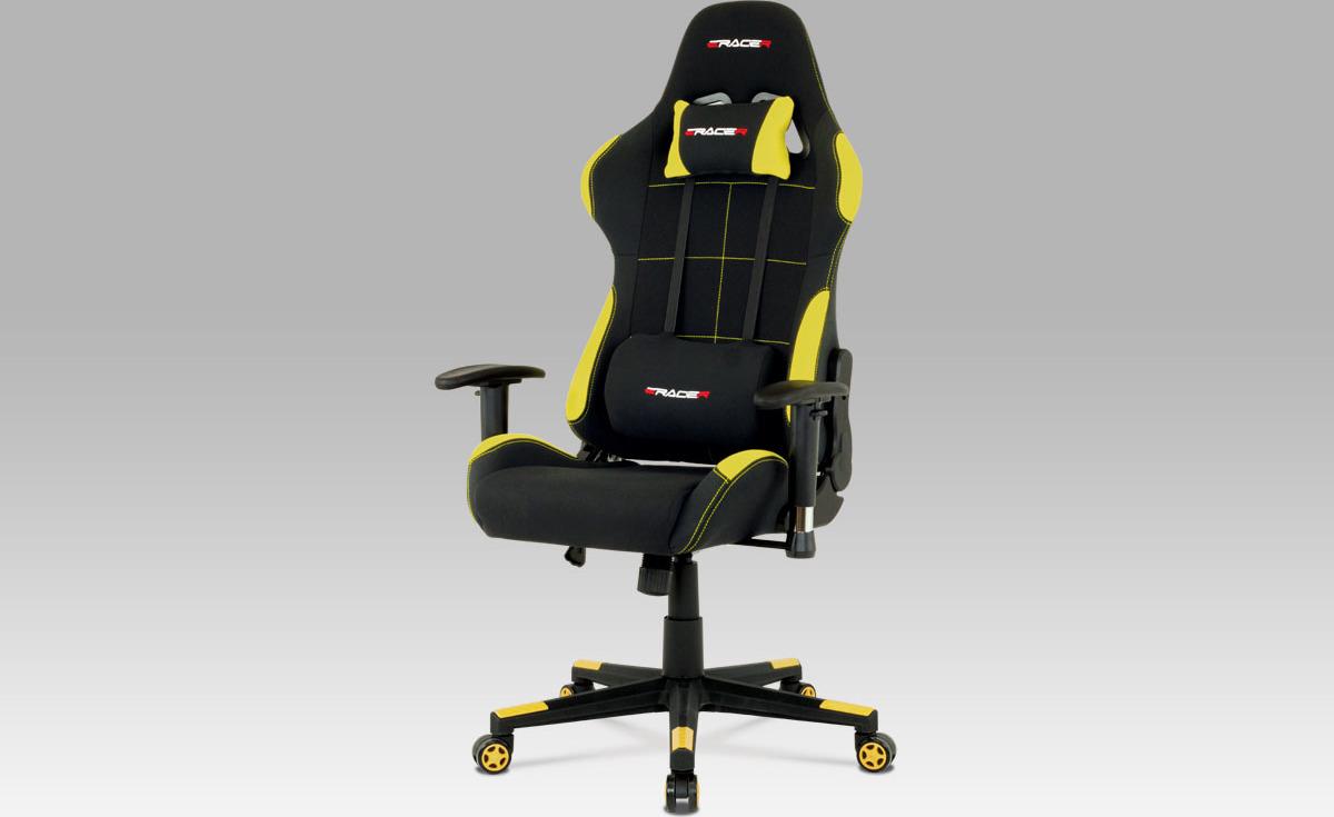 Artium Kancelářská židle E-RACER   kovový kříž   sportovní design Barva: žlutá