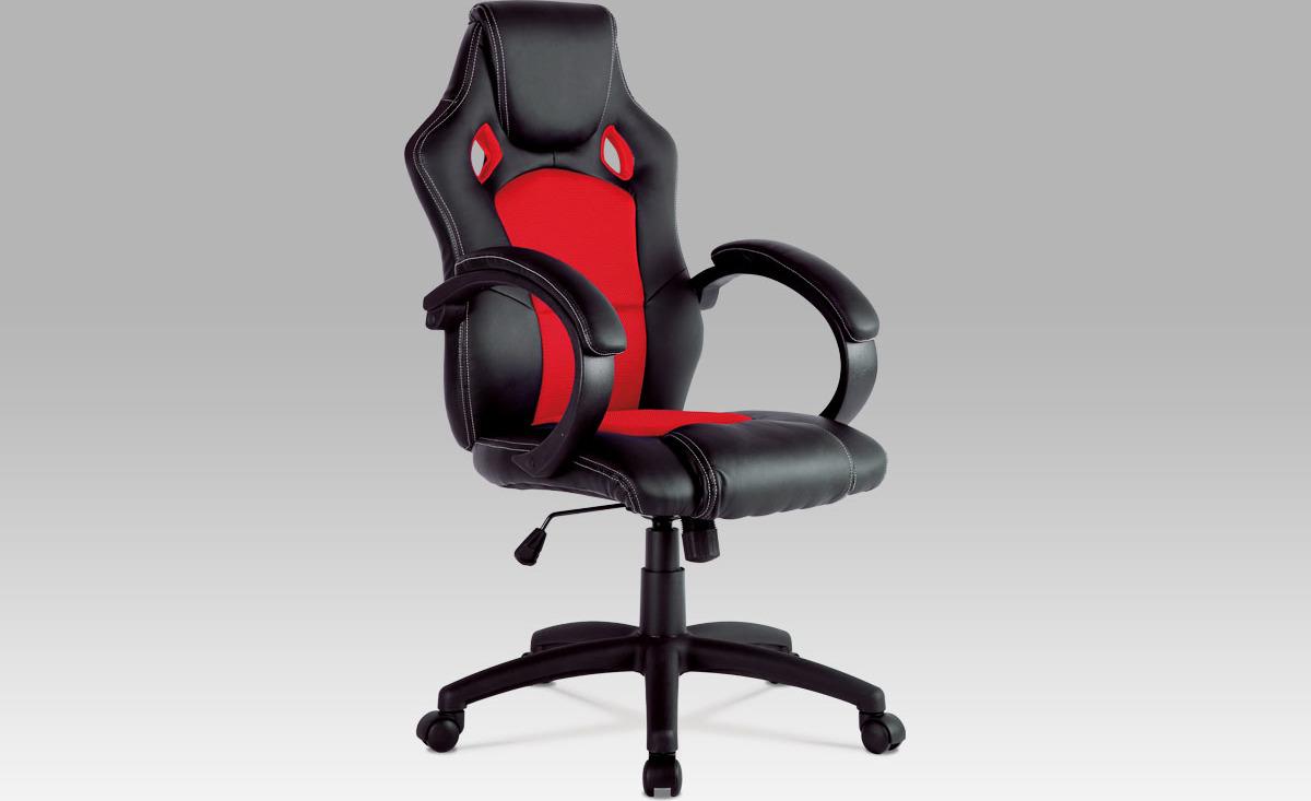 Kancelářská židle | kožena a MESH | houpací mechanismus Barva: červená