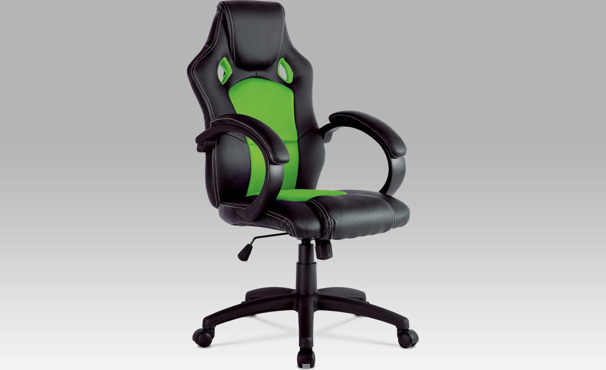 Kancelářská židle | kožena a MESH | houpací mechanismus Barva: zelená