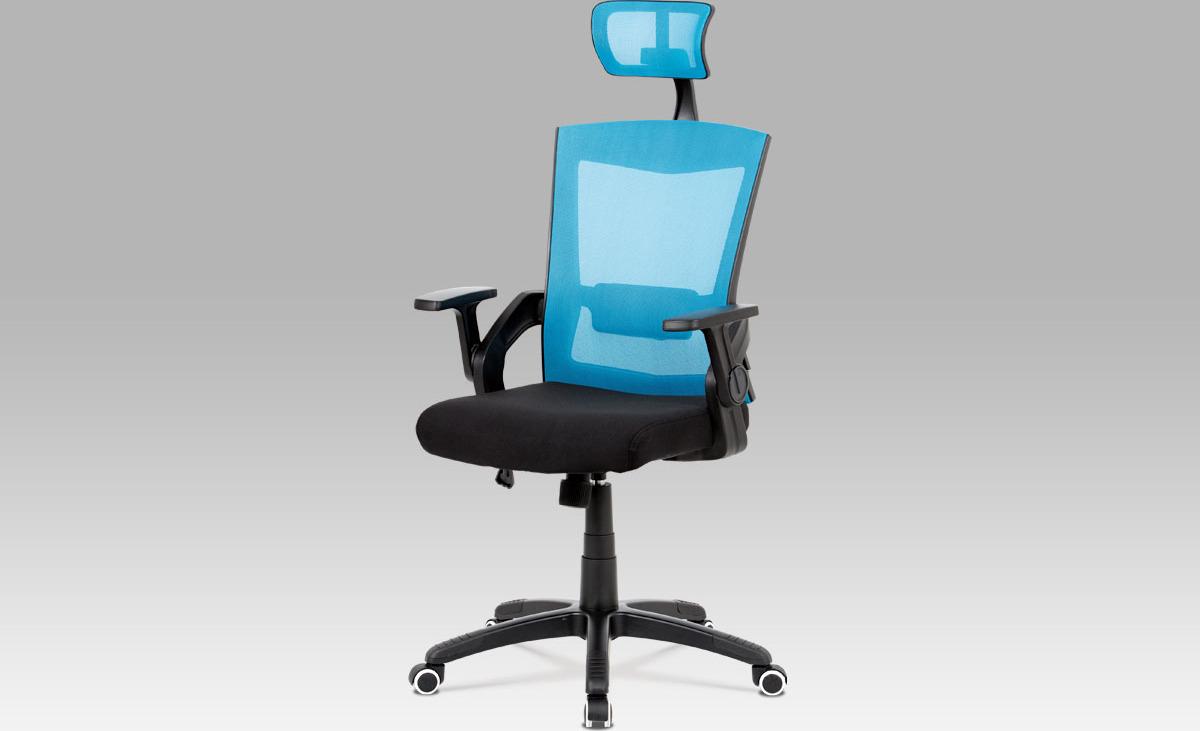 Kancelářská židle   s podhlavníkem   bederní opěrka Barva: modrá