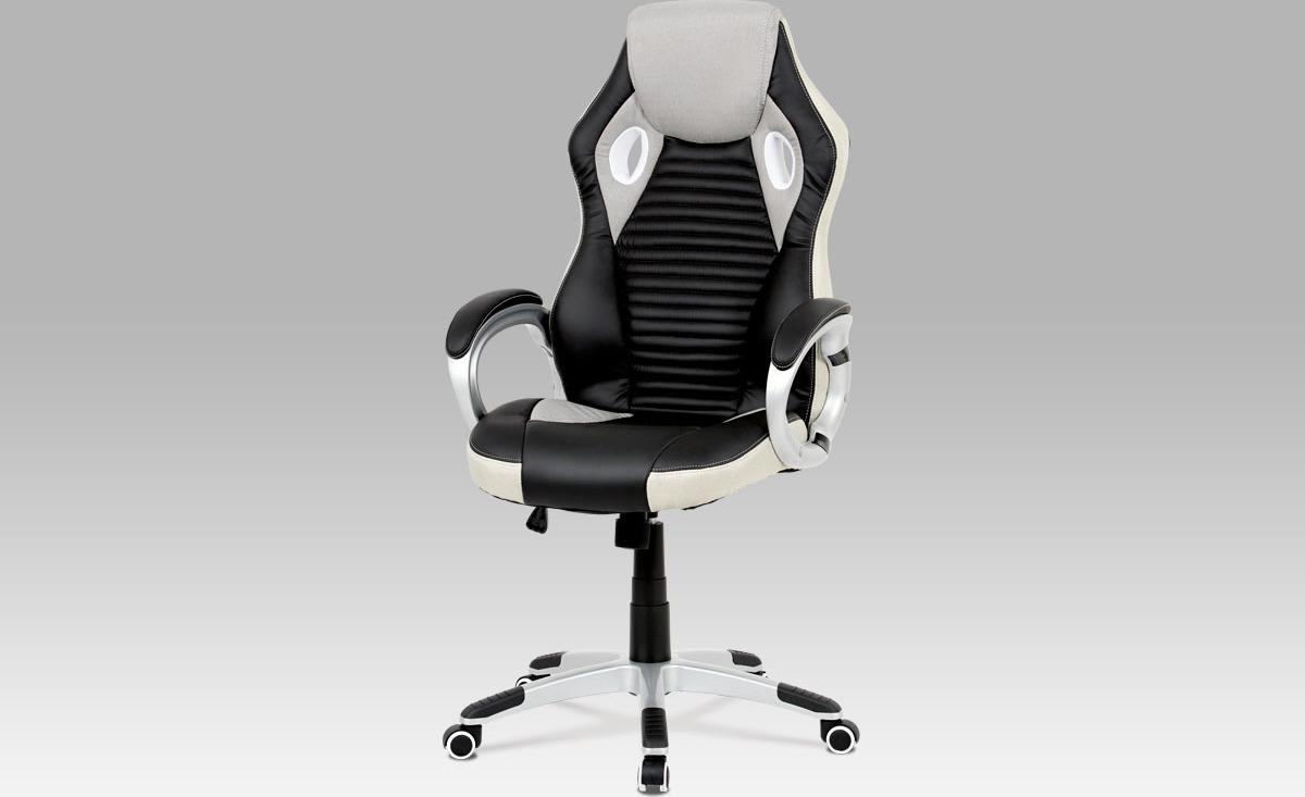 Kancelářská židle, houpací mech., šedá látka + černá koženka, plast. kříž