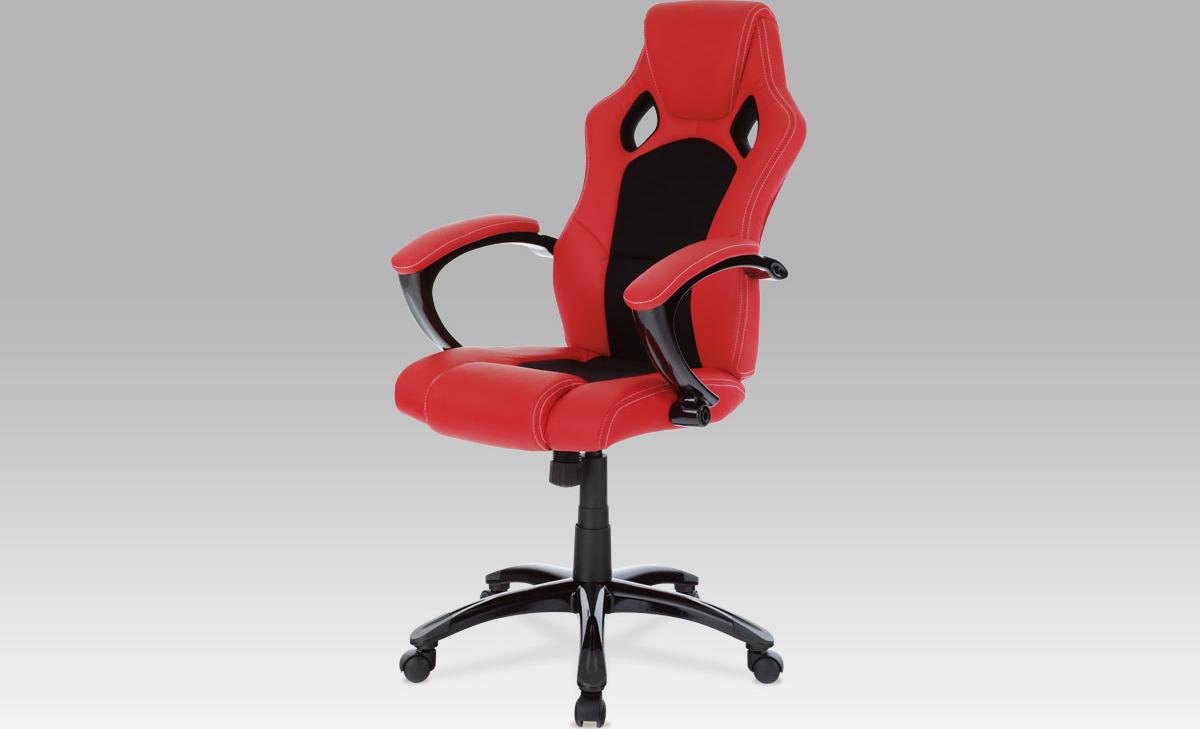 Kancelářská otočná židle   koženka Barva: červená