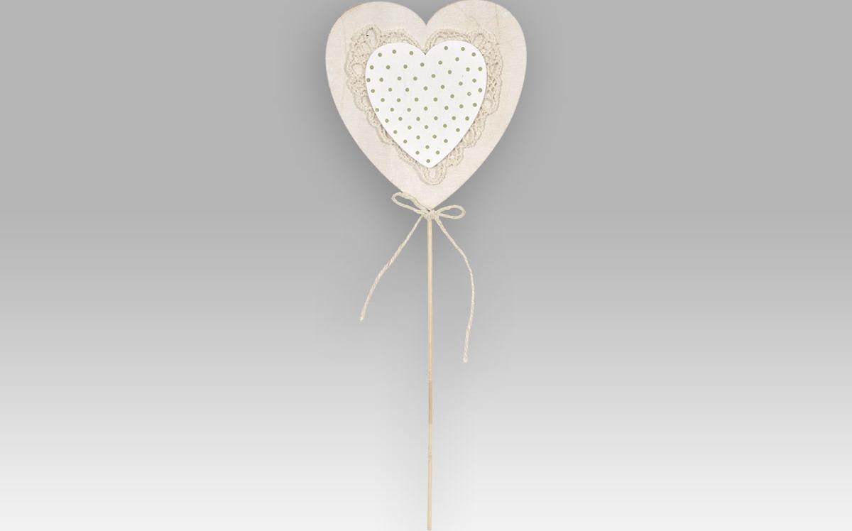 Zápich|dřevěné srdce|světlé|16cm