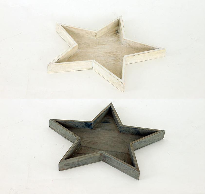 Hvězda dřevěná dekorační 34cm Barva: bílá
