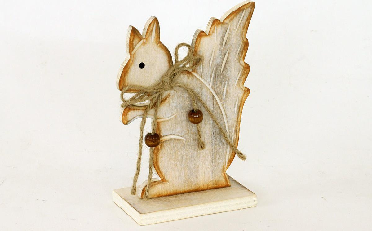 Dřevěná dekorační veverka 10x14cm