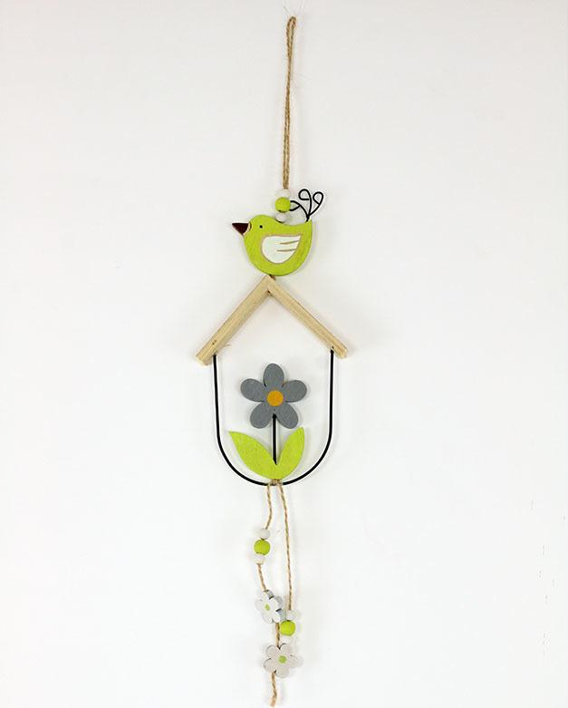 Kytička a ptáček dřevěná dekorace na zavěšení