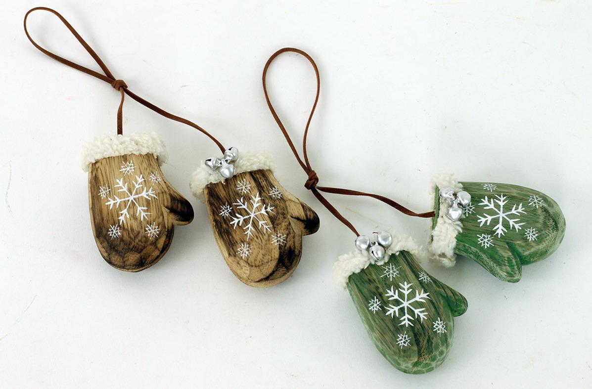 Artium Závěsná vánoční dřevěná dekorace palčáky Barva: hnědá