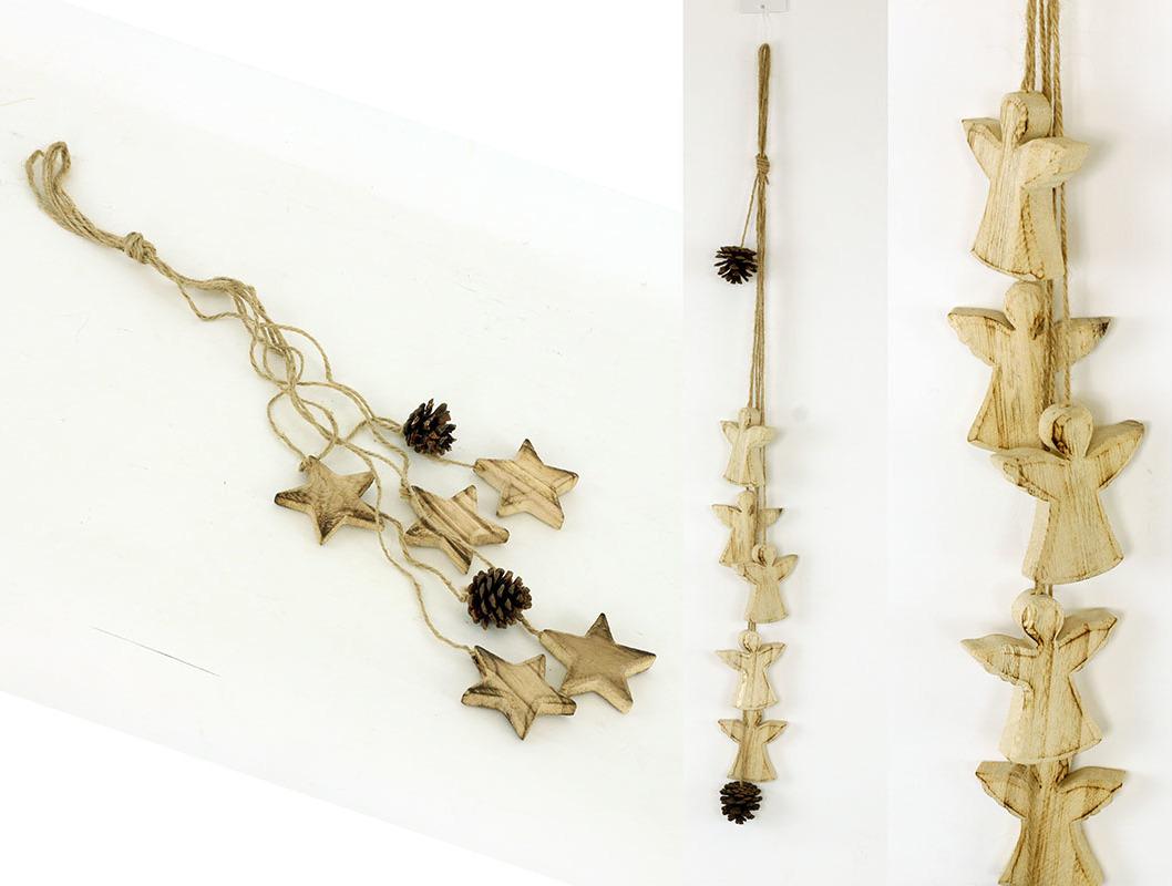 Artium Girlanda s dřevěnou dekorací andělíčků nebo hvězdiček S motivem: hvězda