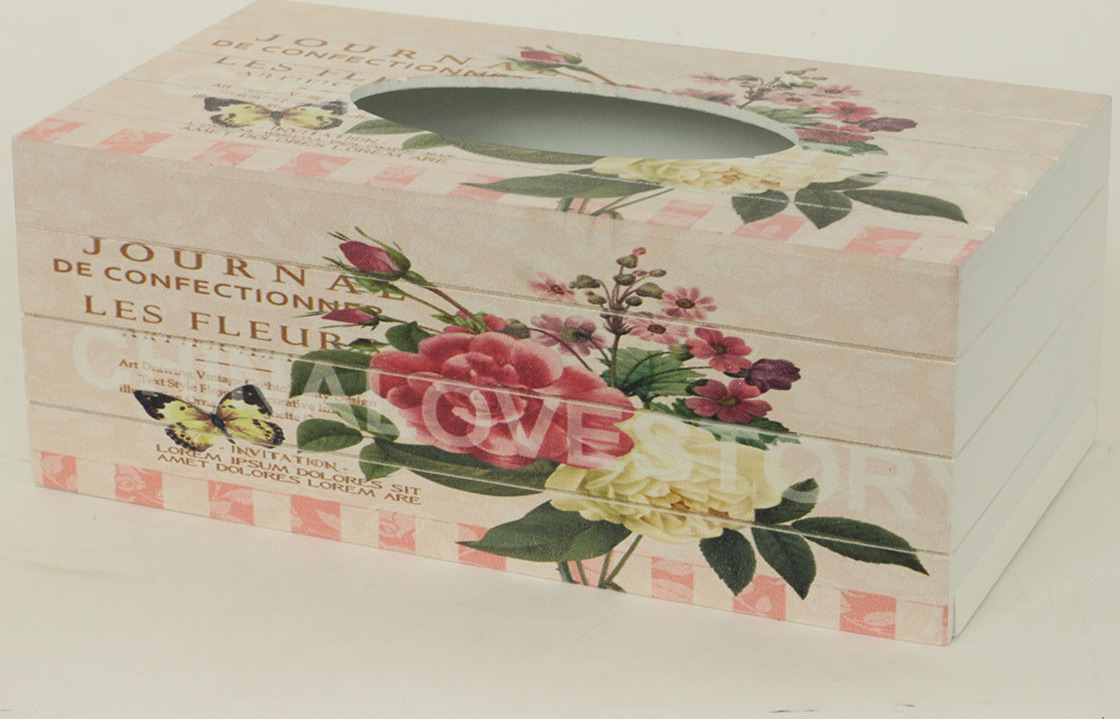 Krabička na kapesníky MDF květy