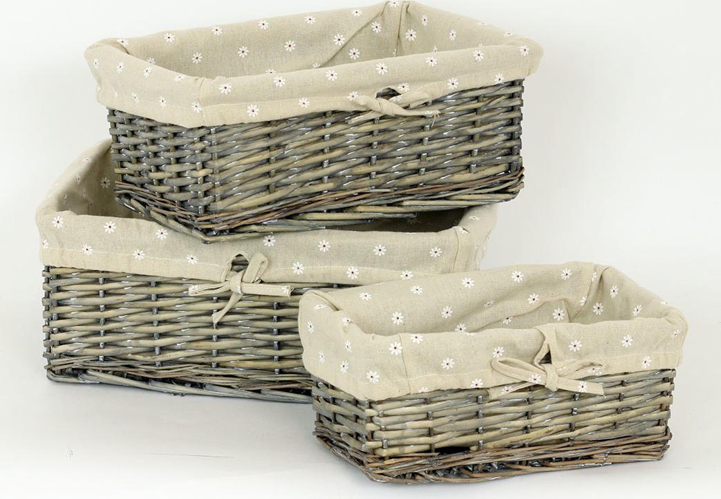 Proutěný košík, sada 3ks Barva: šedá