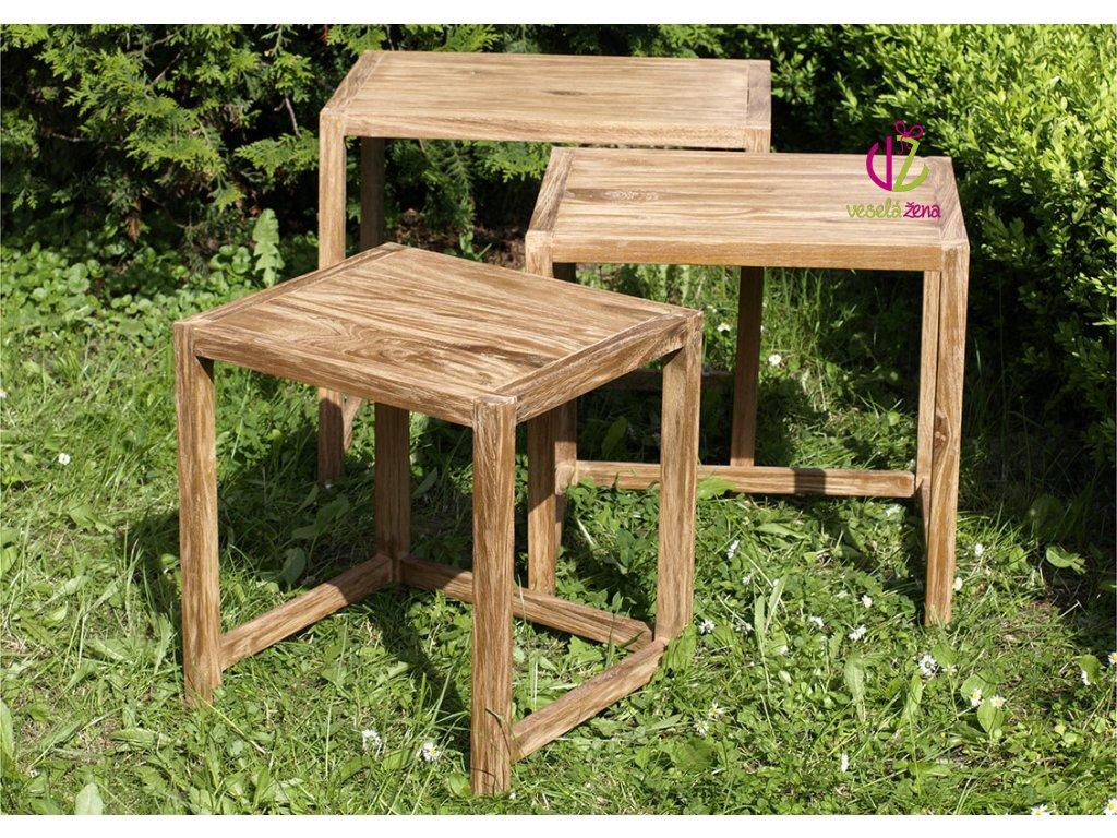 Odkládací stolek teakový Sada 3ks Provedení: B