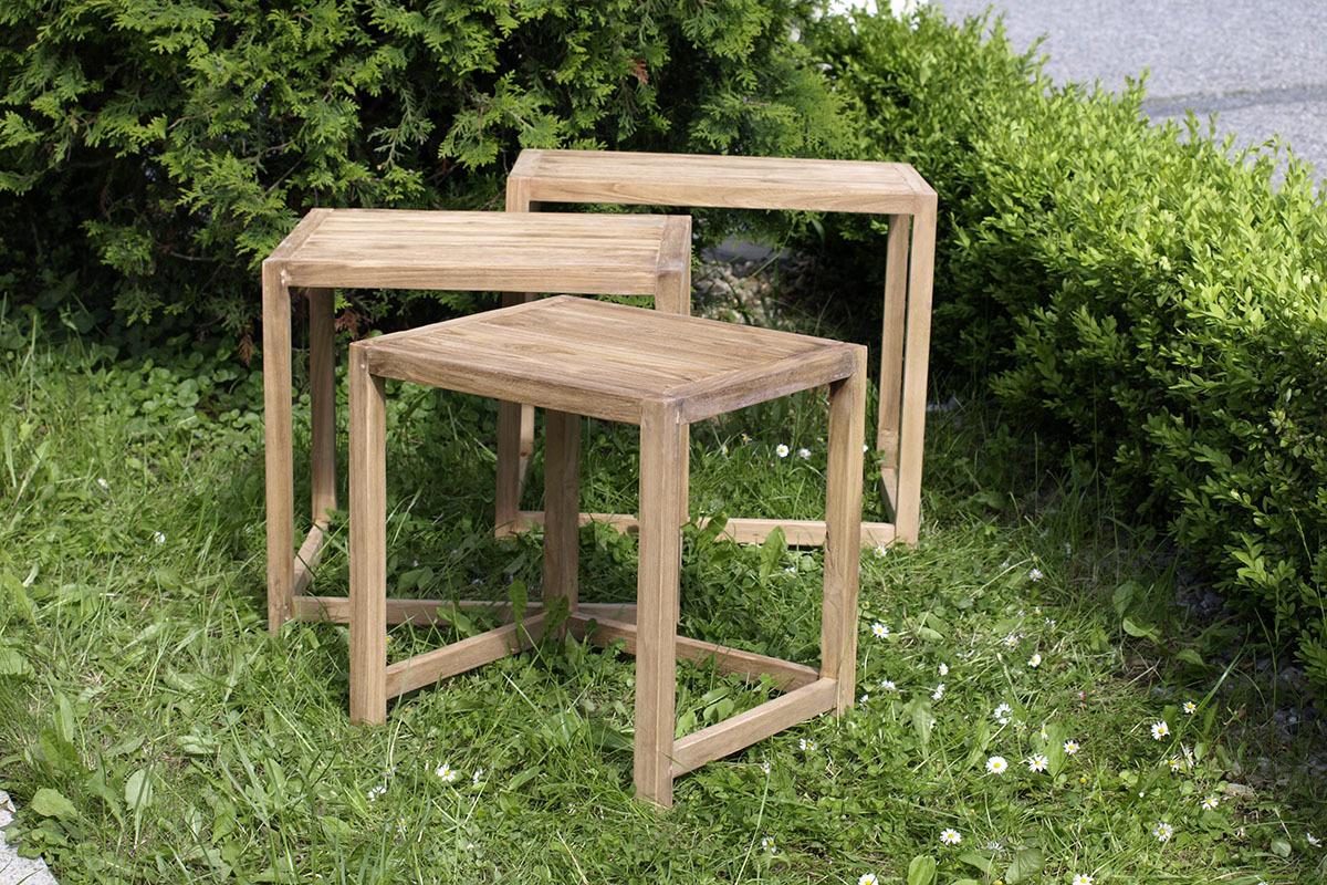 Odkládací stolek teakový Sada 3ks Provedení: A