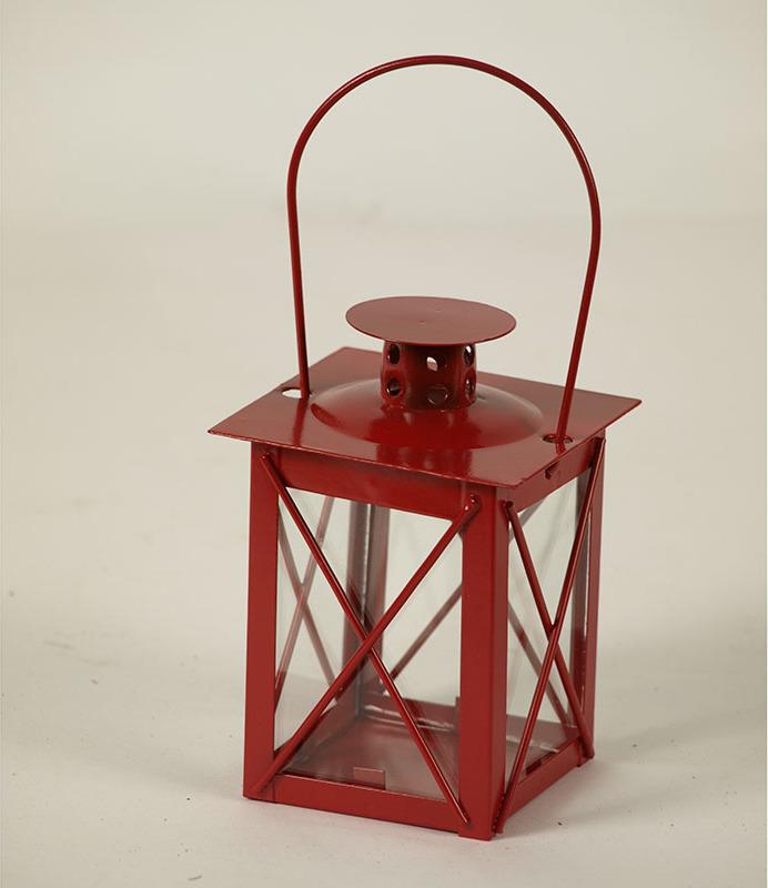 Kovová lucerna 8x8x12cm Barva: červená
