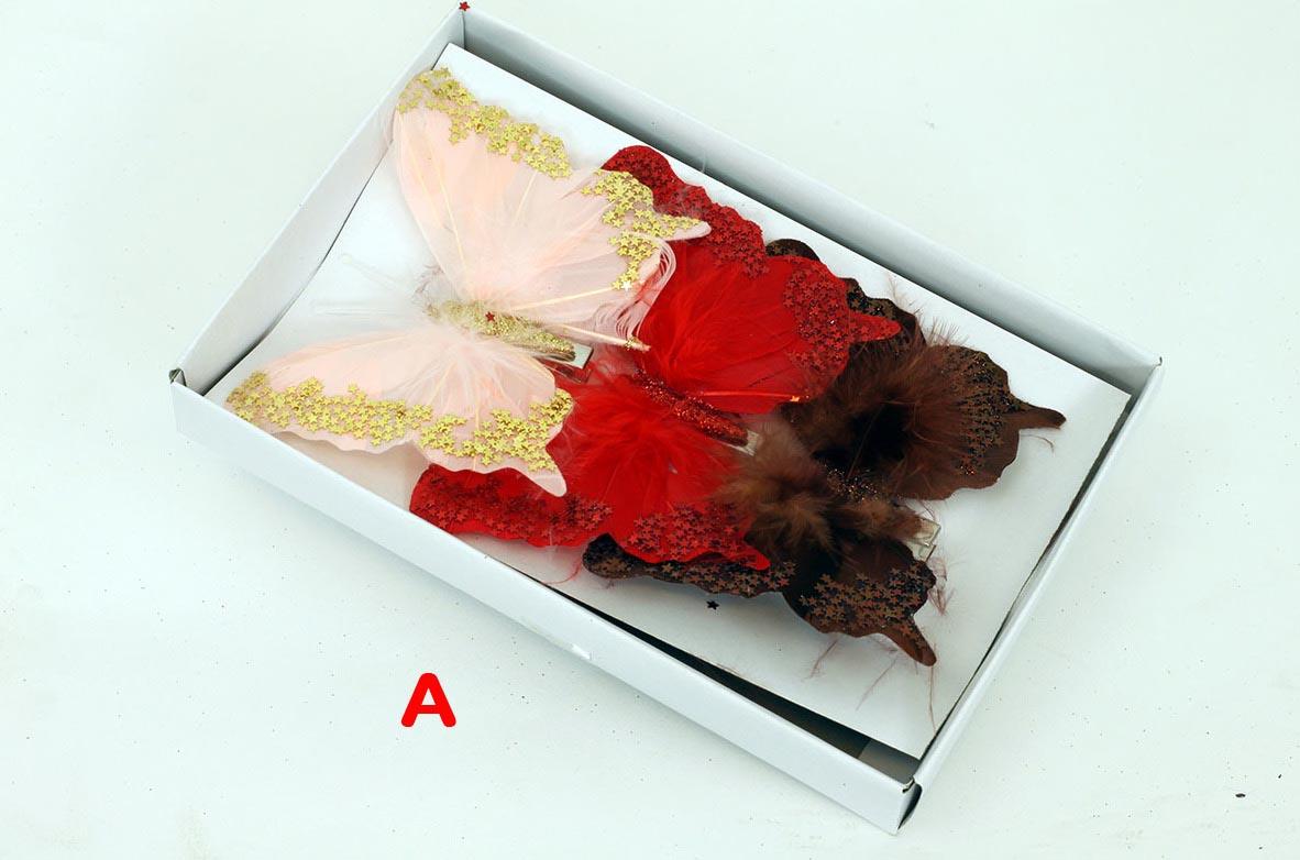 Artium Motýl s klipem a glitry sada 3ks Provedení: A