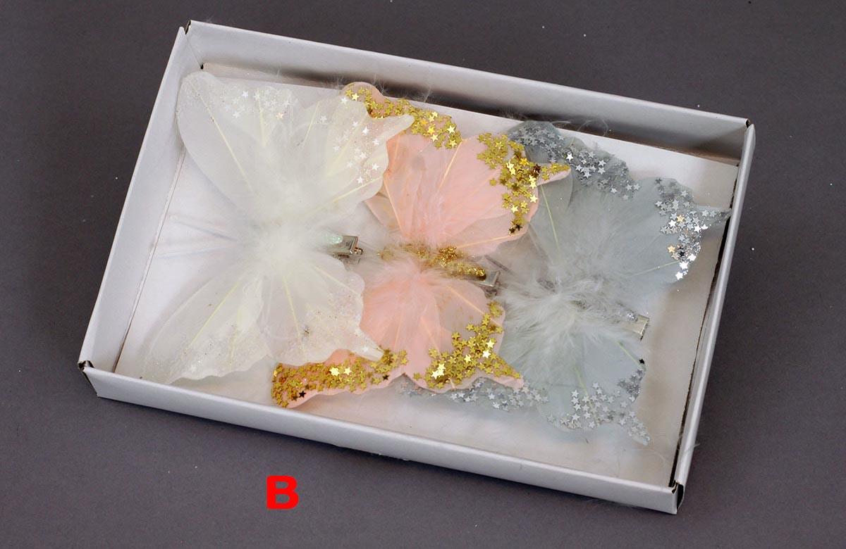 Artium Motýl s klipem a glitry sada 3ks Provedení: B