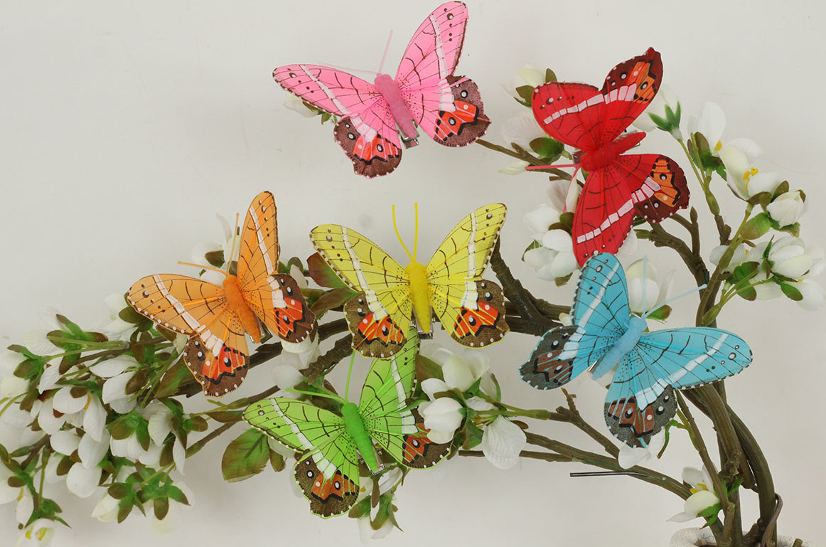 Artium Motýl barevný s klipem sada 12 ks