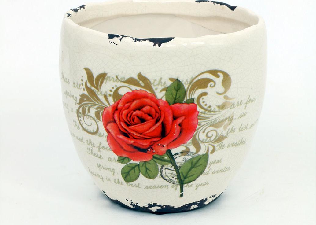 Květináč keramický s červenou růží Velikost: střední