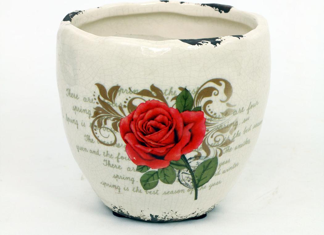 Květináč keramický s červenou růží Velikost: menší