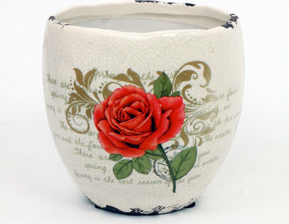 Květináč keramický s červenou růží Velikost: větší