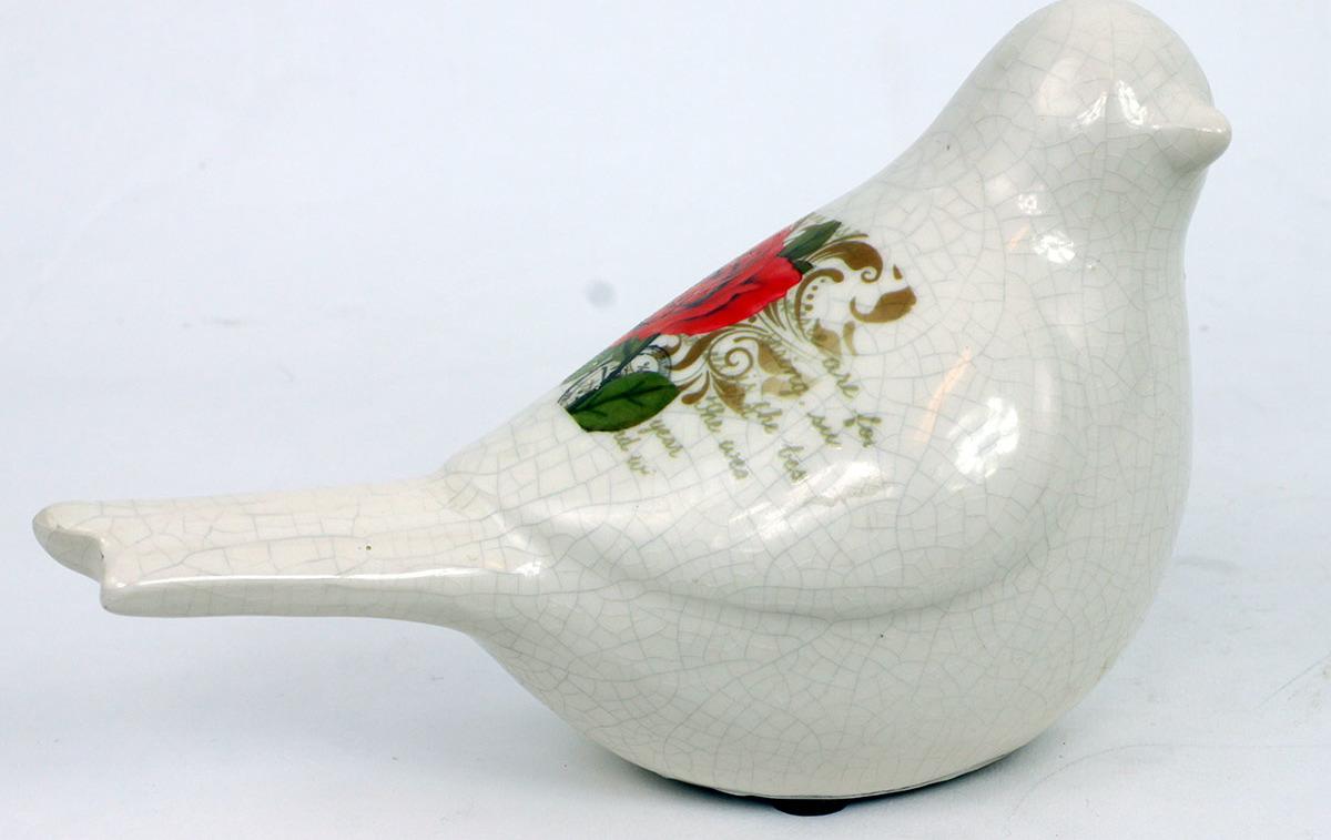Ptáček keramický s růží