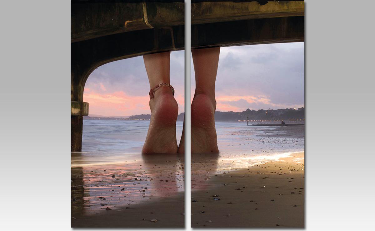 Artium Sada obrazů 2ks nohy na pláži