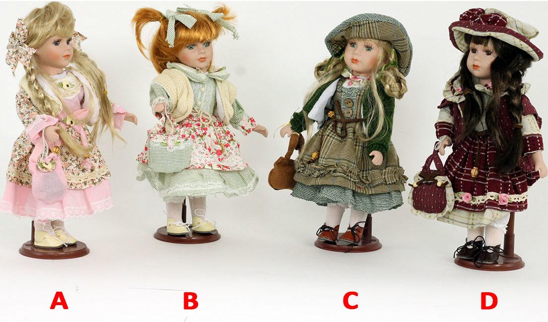 Dekorační panenka s porcelánovou hlavičkou 30cm Provedení: A