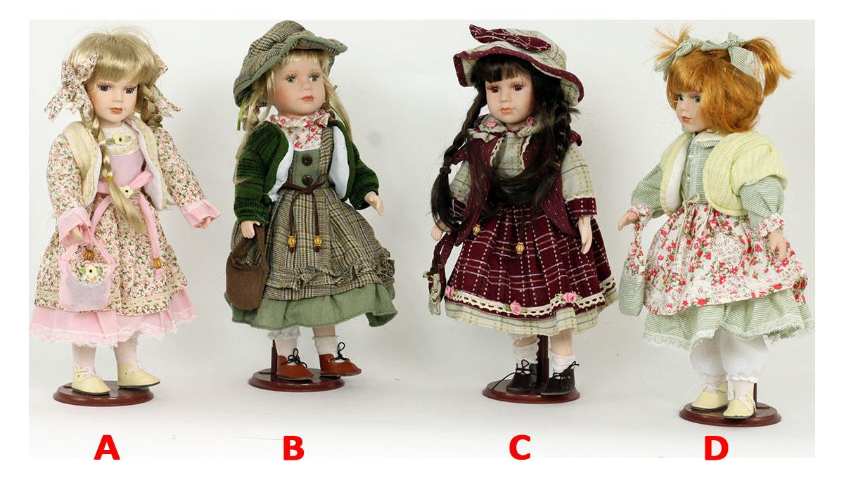 Dekorativní panenka s porcelánovou hlavičkou 40cm Provedení: A
