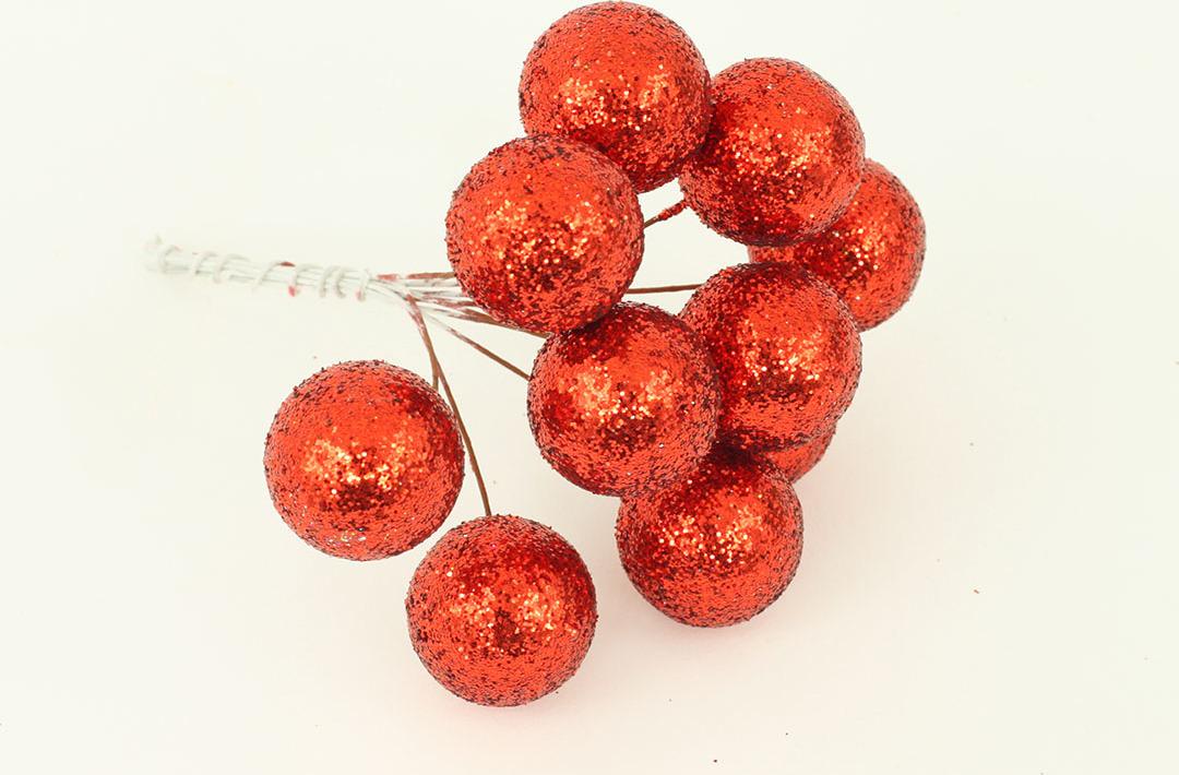 Vánoční přízdoba svazek kuliček 2cm Barva: červená
