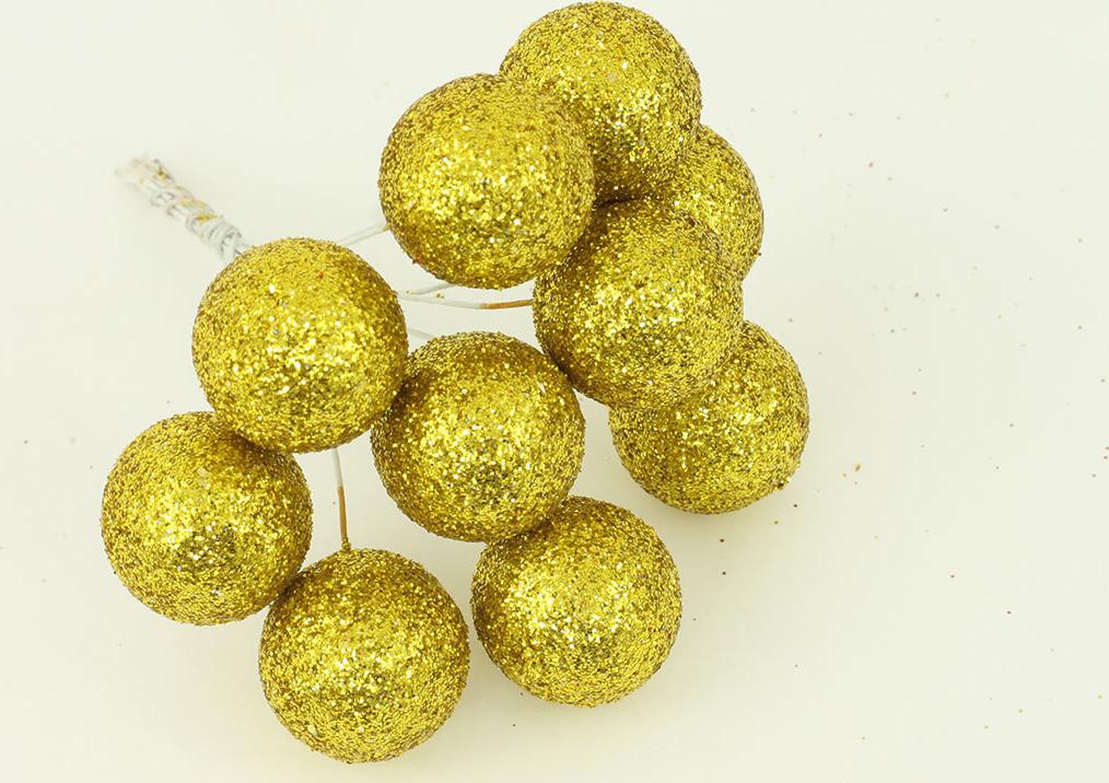 Vánoční přízdoba svazek kuliček 2cm Barva: zlatá