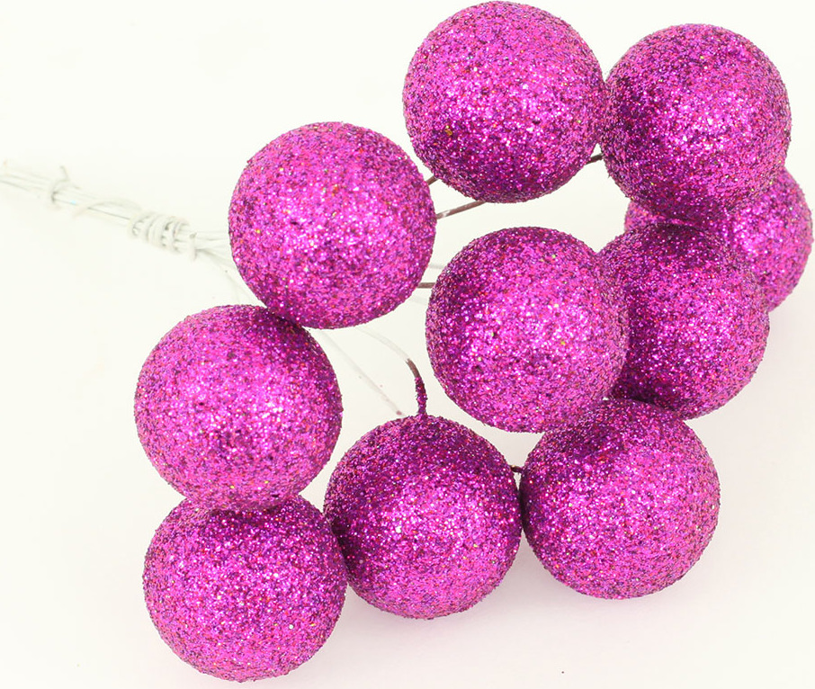 Vánoční přízdoba svazek kuliček 2cm Barva: fialová