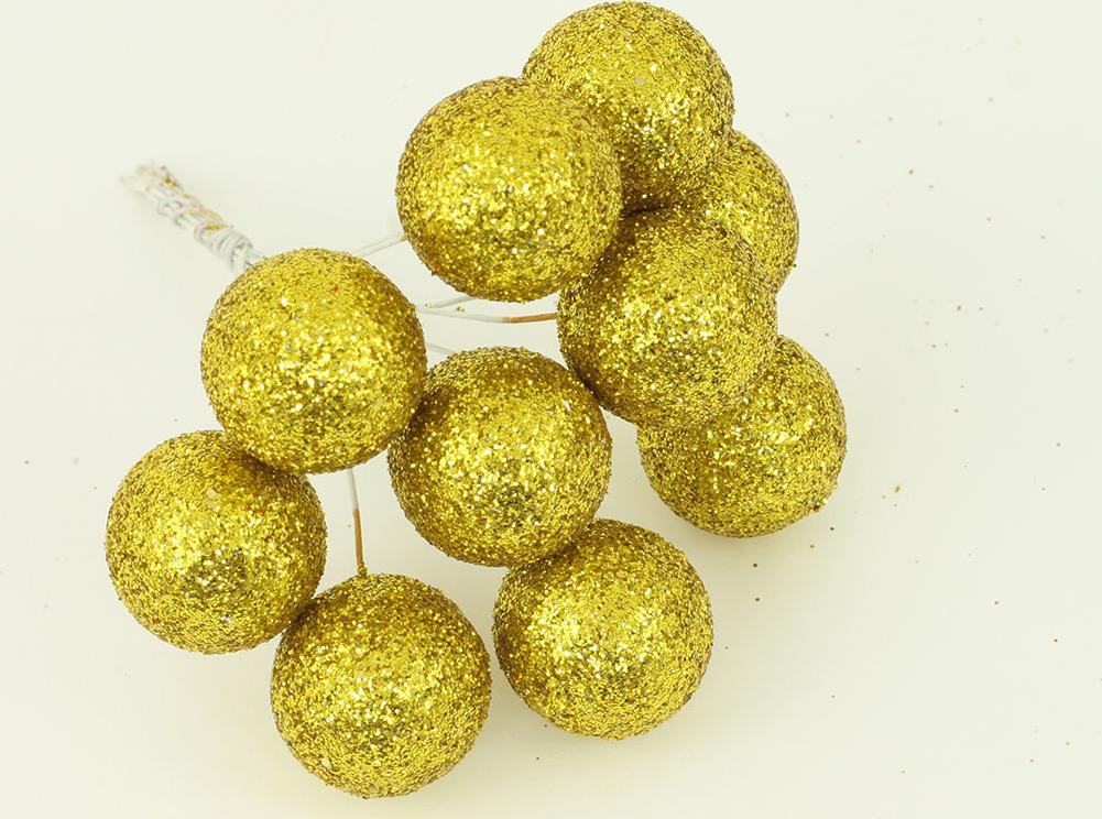 Vánoční přízdoba svazek kuliček 3cm Barva: zlatá