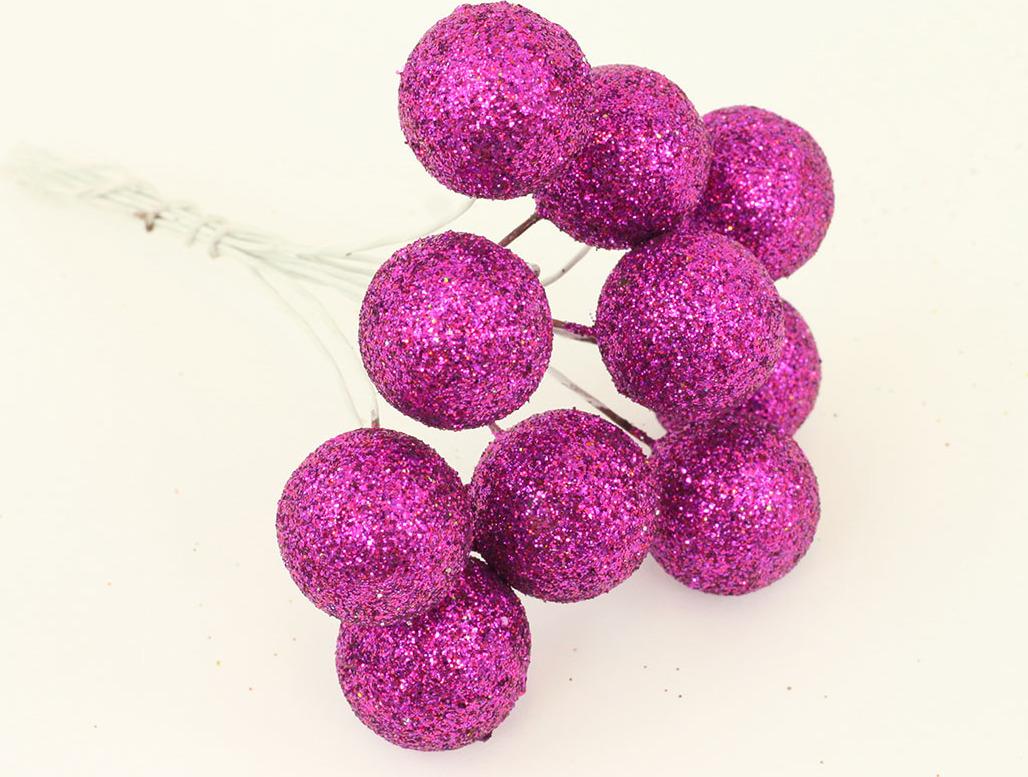 Vánoční přízdoba svazek kuliček 3cm Barva: fialová