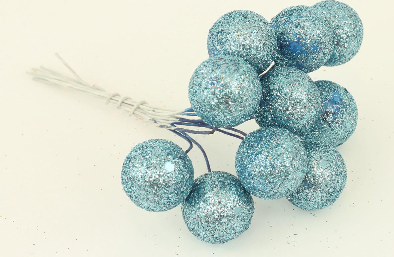 Vánoční přízdoba svazek kuliček 3cm Barva: modrá
