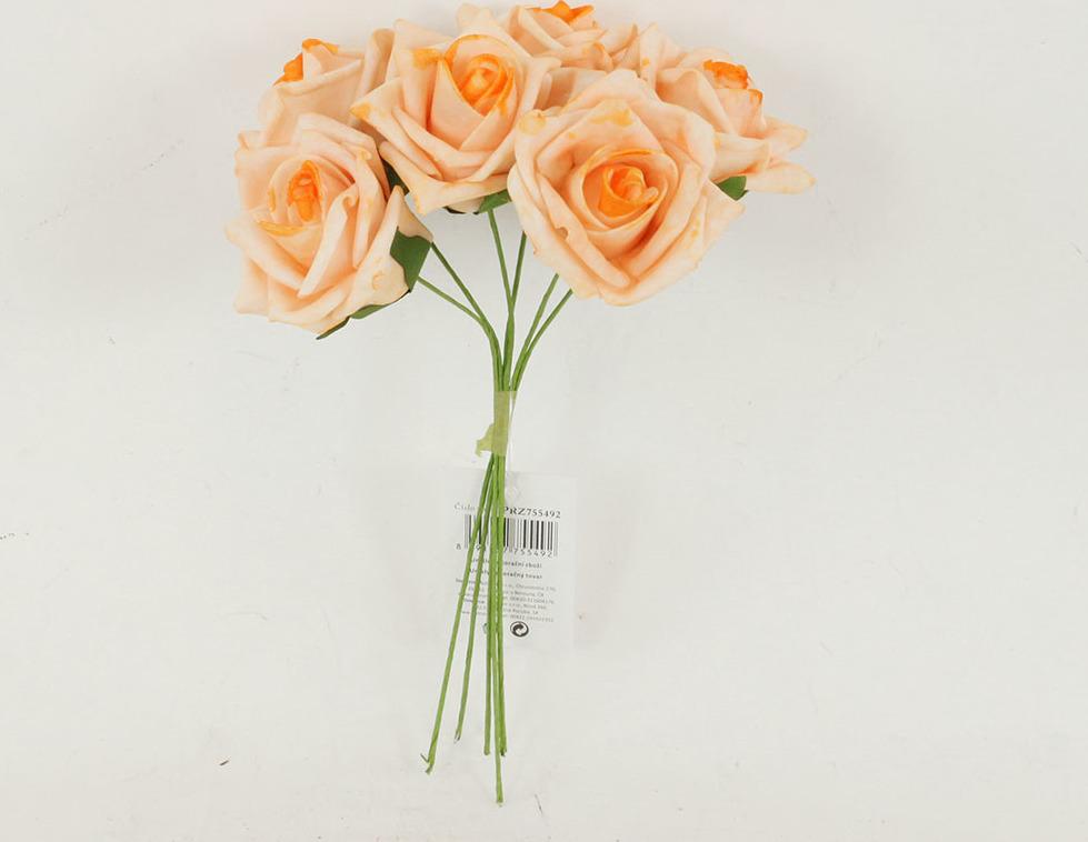Artium Růžičky pěnové puget 6ks květ 7cm Barva: lososová