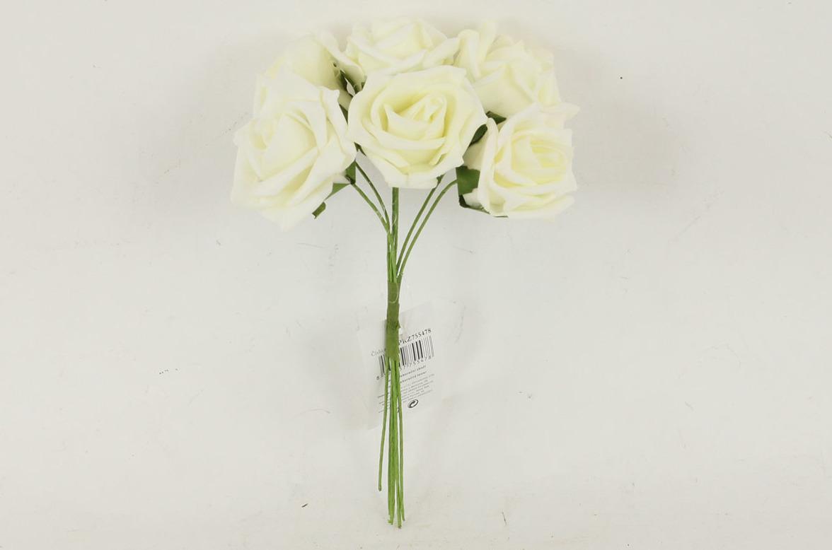 Artium Růžičky pěnové puget 6ks květ 7cm Barva: krémová