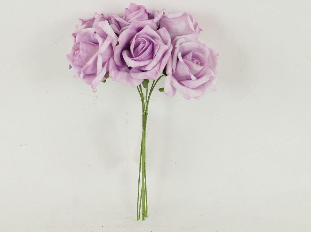 Artium Růžičky pěnové puget 6ks květ 7cm Barva: fialová