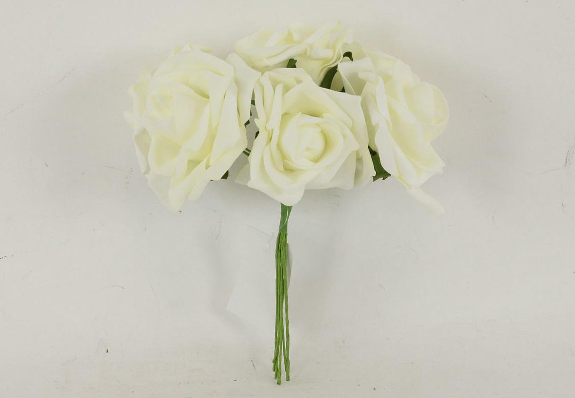 Artium Růžičky pěnové puget 6ks květ 10cm Barva: krémová