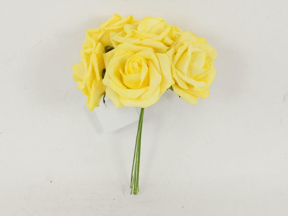 Artium Růžičky pěnové puget 6ks květ 10cm Barva: žlutá