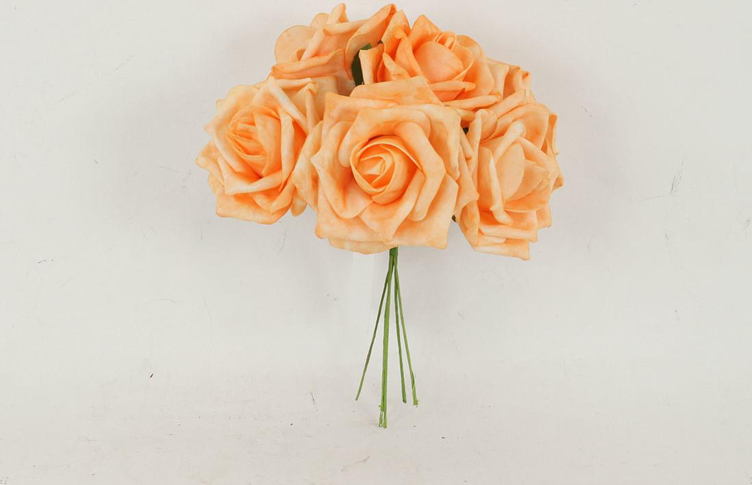 Artium Růžičky pěnové puget 6ks květ 10cm Barva: oranžová