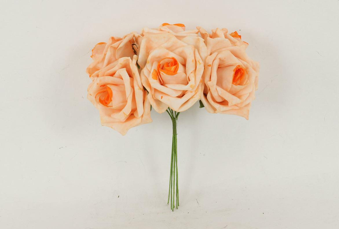 Artium Růžičky pěnové puget 6ks květ 10cm Barva: lososová