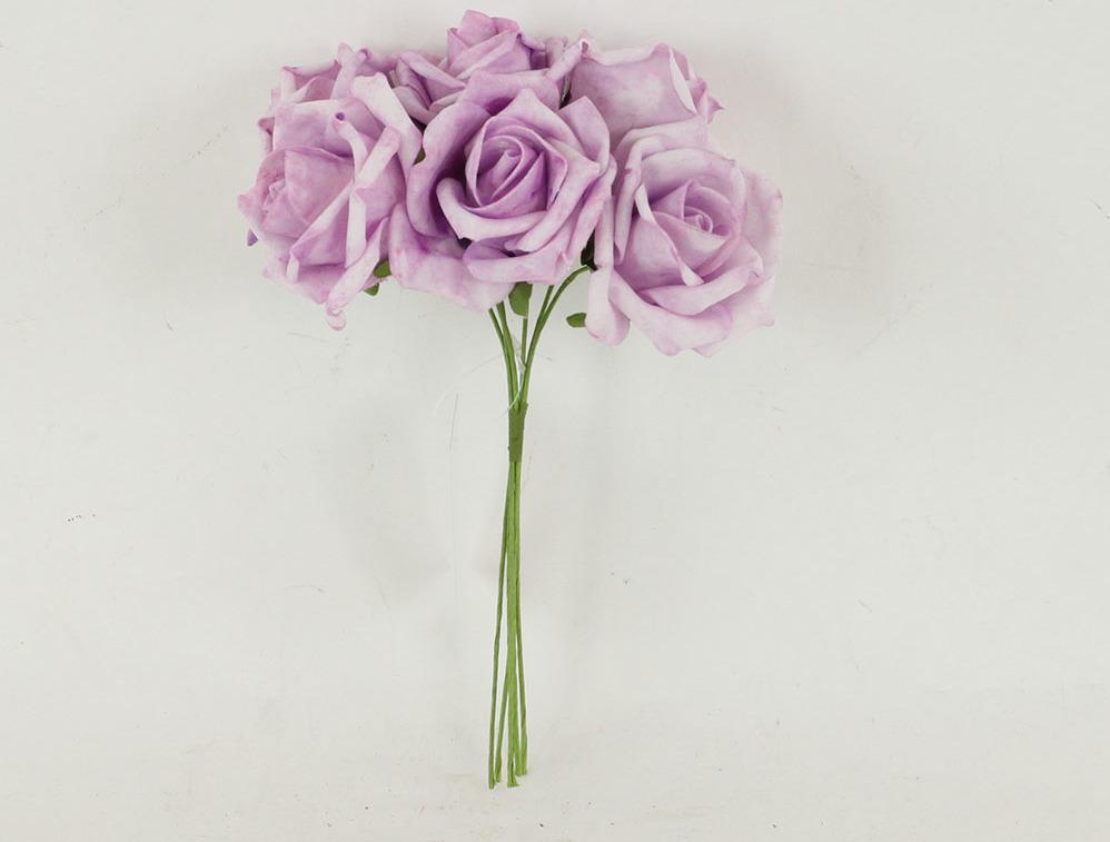 Artium Růžičky pěnové puget 6ks květ 10cm Barva: fialová