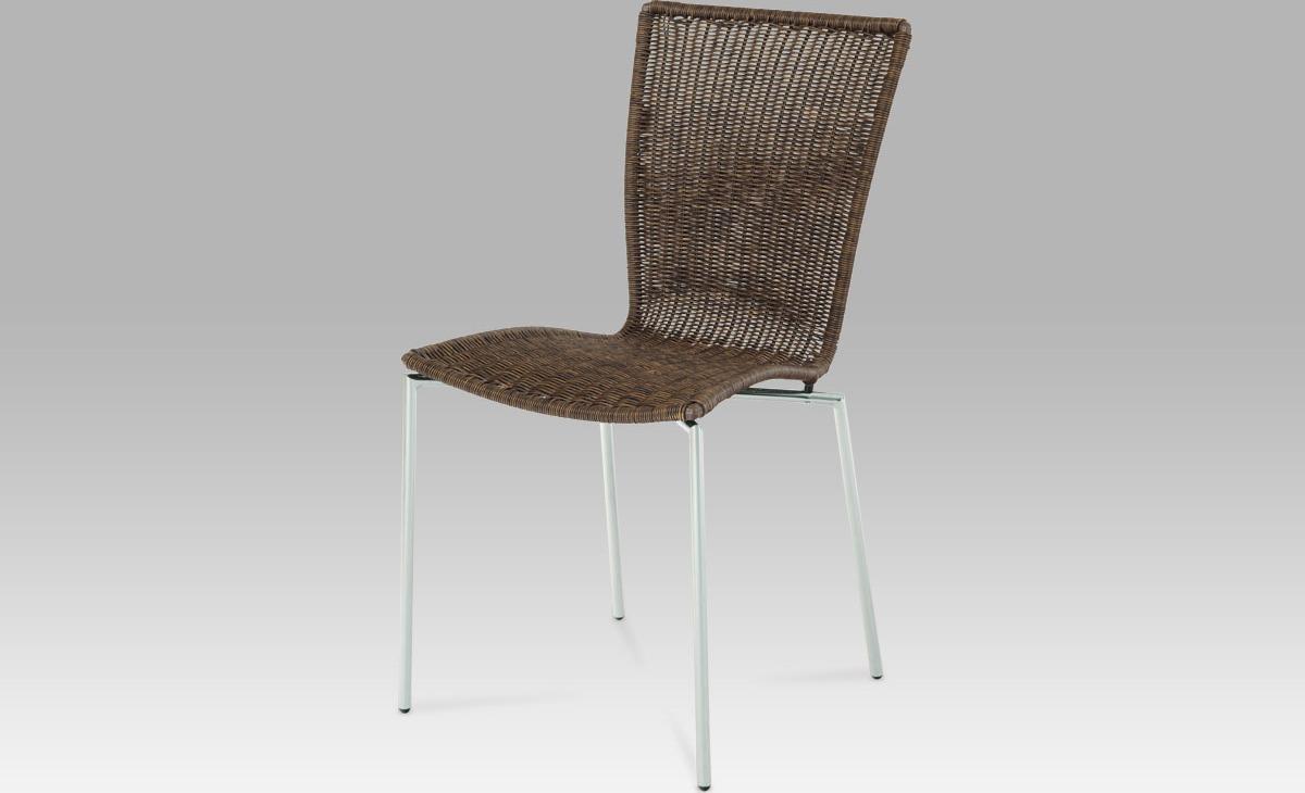 Jídelní židle chrom   UMĚLÝ ratan   tmavě hnědý