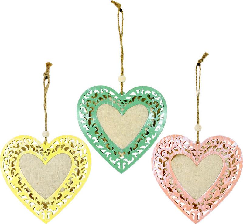 Srdce kovové k zavěšení Barva: růžová
