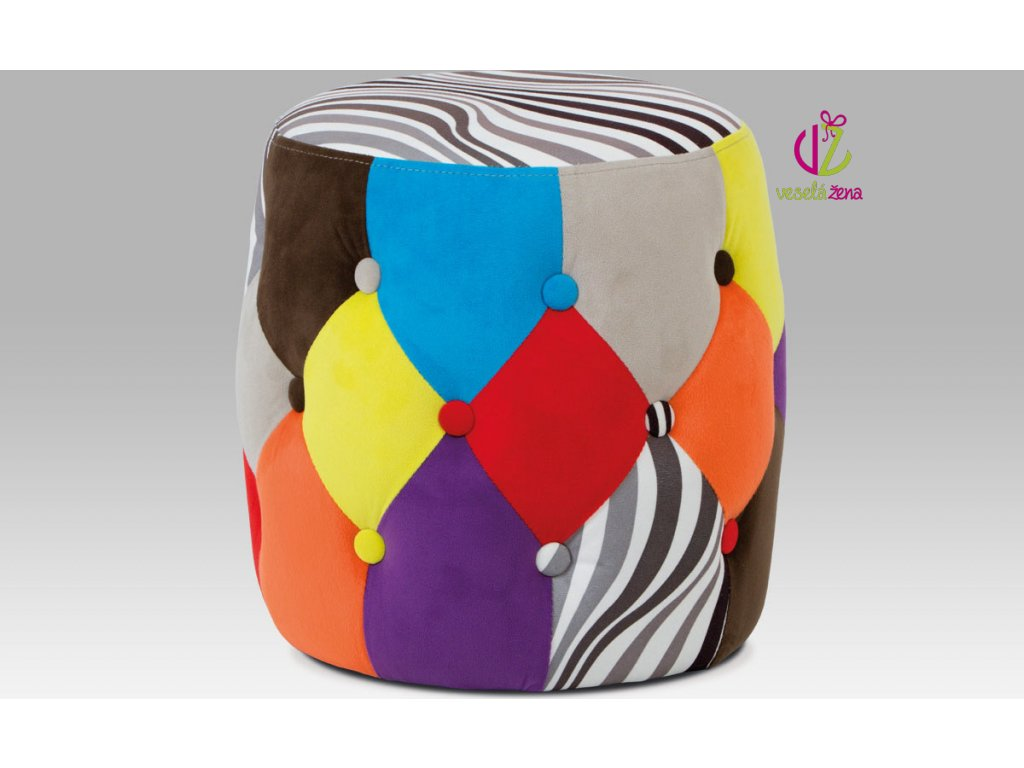 Artium Taburet patchwork 36x36cm S motivem: B