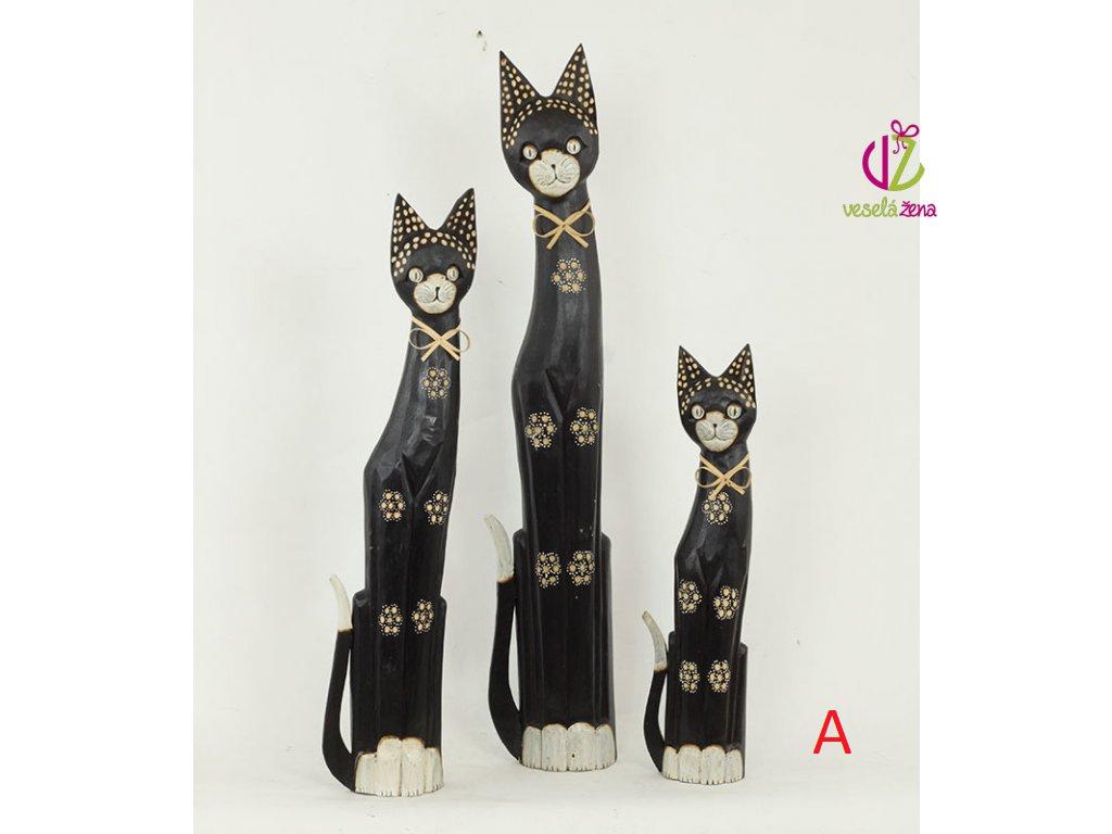Kočka dřevořezba tmavá set 3ks Provedení: A