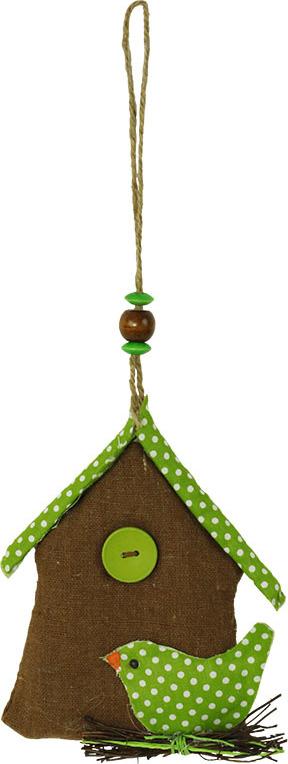 Domeček textilní s ptáčkem barva hnědá