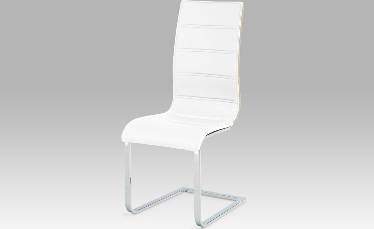 Jídelní židle   koženka   dub sonoma   chrom Barva: bílá