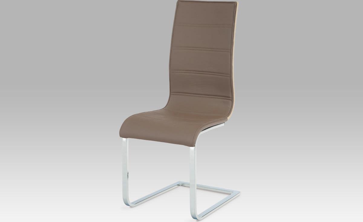 Jídelní židle   koženka   dub sonoma   chrom Barva: hnědá