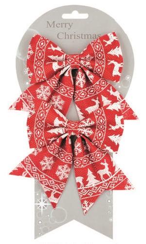 Anděl Přerov Mašle vánoční s norským vzorem set 2ks 13cm