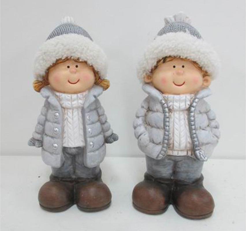 Keramická figurka děvčátko nebo chlapec 10x10x23cm šedá Provedení: Holka
